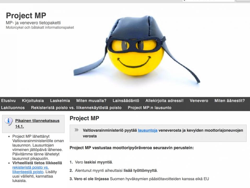 Project MP:n etusivu.