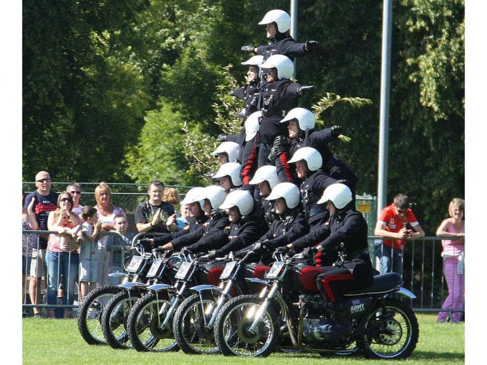 Royal Signals Motorcycle Display Team eli White Helmets.