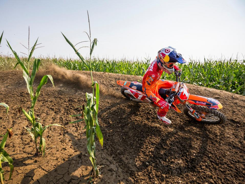 Ryan Dungey rides the track during filming for Red Bull Homegrown on Adam LaRoche's E3 Ranch in Fort Scott, Kansas on 05 September, 2017.