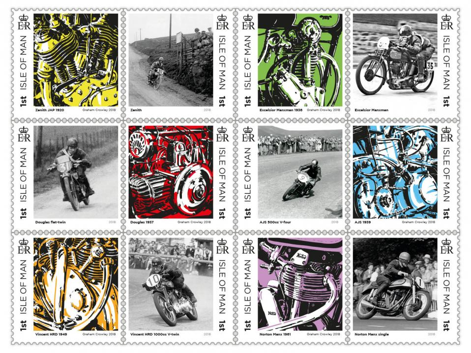 Mansaaren postitoimiston 'Great British Motorcycles' -arkki.