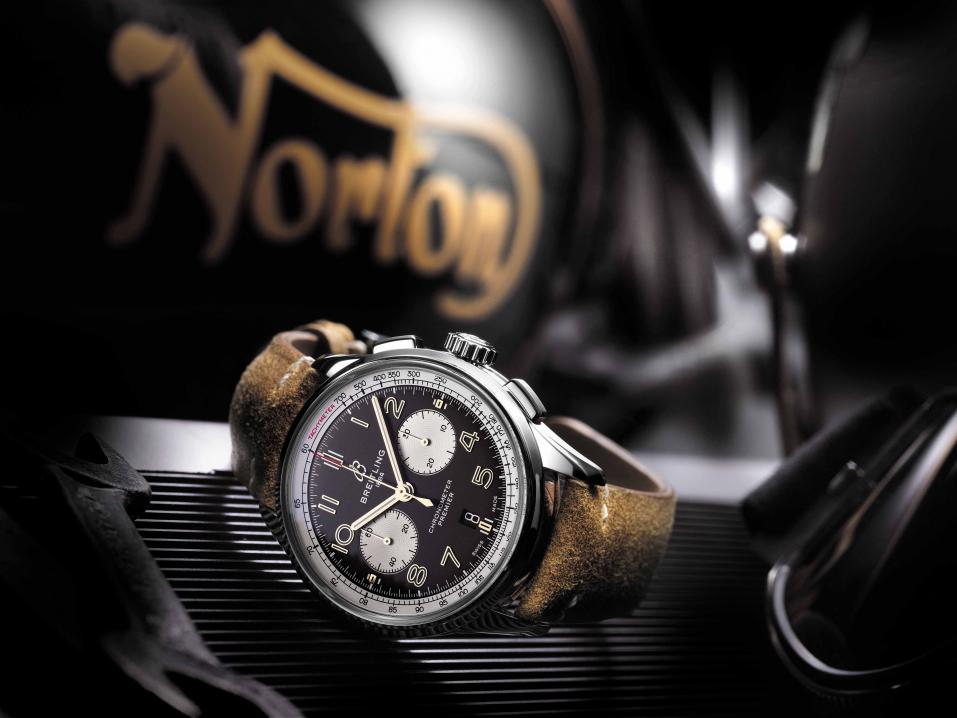 Premier B01 Chronograph 42 Norton Edition with a brown vintage raw-leather strap and pin buckle (PPR/Breitling)