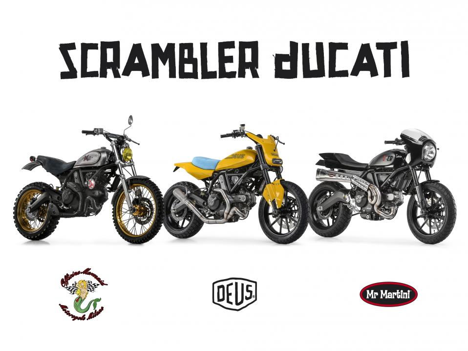 Ducati Scrambler modified: Officine Mermaid, Deus ja Mr Martini.